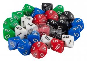 Dice set of 25 d10 avilable in 5 colors