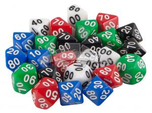 Dice set of 25 d100 avilable in 5 colors