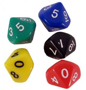 Dice d10 avilable in 5 colors