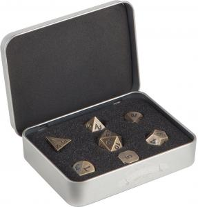 Dice set of 7 role playing in Antique Gold color